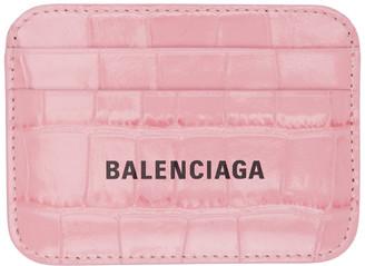 Balenciaga Pink Croc Cash Card Holder