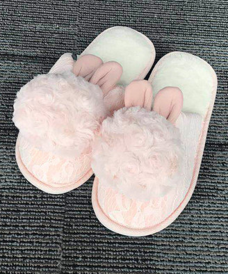 Dudu Town TOWN Women's Slippers Pink - Pink Lace Bunny Slipper - Women