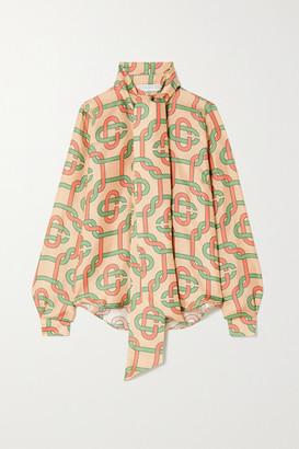 Casablanca Tie-detailed Printed Silk-twill Blouse - Beige