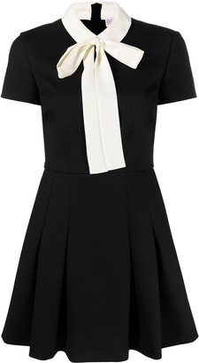 RED Valentino Tie-Neck Flared Mini Dress