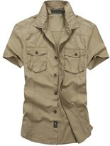 OCHENTA Men's Sportswear Short Sleeve Outdoor Work Shirt Army Green