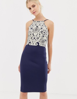 Chi Chi London midi pencil dress with gold embroidery in navy