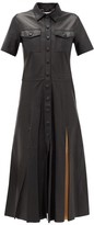 Stand Studio Jordan Contrast-panel Leather Shirt Dress - Womens - Black Multi