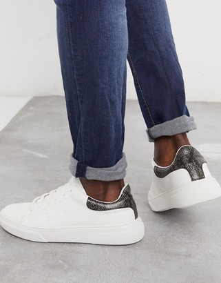 Topman trainers in white with animal print detail