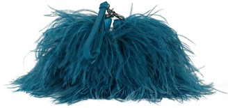 Marques Almeida Ostrich Feather Shoulder Bag Turquoise