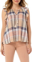 Liverpool Plaid Cotton & Linen Blend Sleeveless Blouse