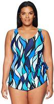 Maxine Of Hollywood Women's Plus Size Stained Glass Print Sarong Swimsuit