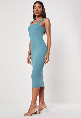 Missguided Square Neck Raw Edge Ribbed Midaxi Dress