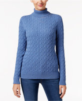 Charter Club Cable-Knit Turtleneck Sweater, Only at Macy's