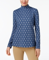 Karen Scott Petite Printed Mock-Neck Top, Created for Macy's