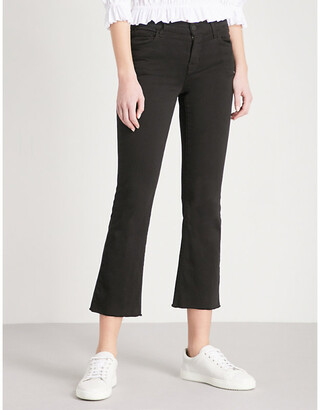 J Brand Women's Black Bastille Selena Frayed Bootcut Jeans, Size: 24