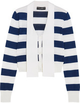 Dolce & Gabbana Striped Cashmere And Silk-blend Cardigan - Navy