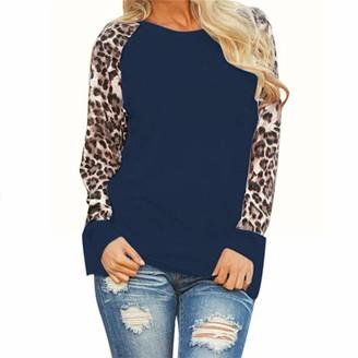 JURTEE Women Fashion Casual Leopard Print Long Sleeve Blouse Casual Crew Neck Plus Size T-Shirt Tops(5XL