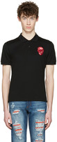 Alexander McQueen Black Embroidered Skull Polo