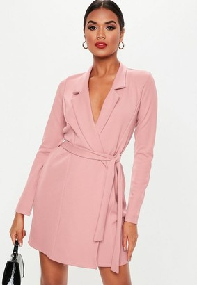 Missguided Pink Basic Jersey Belted Blazer Dress