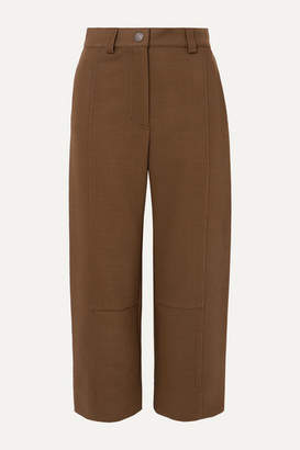 See by Chloe Cropped Twill Wide-leg Pants - Brown