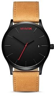 MVMT Classic Black Tan Leather Strap Watch, 45mm