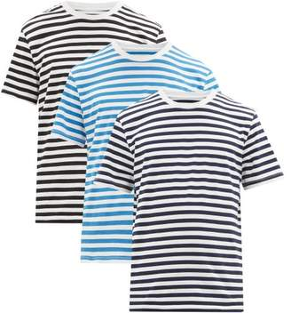 Maison Margiela Pack Of Three Striped Cotton Jersey T-shirts - Mens - Blue White