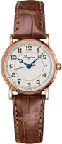 Longines L4.267.8.73.2 Heritage 18ct rose-gold and leather watch