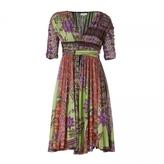 Green/Berry Flowerprint V-Neck Dress