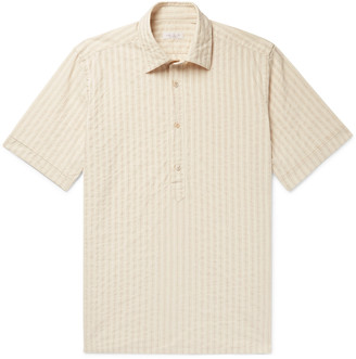 Incotex Striped Cotton And Linen-Blend Half-Placket Shirt