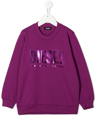 Diesel TEEN metallic logo print round neck sweatshirt