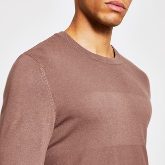 River Island Mens Pink long sleeve slim fit knitted top