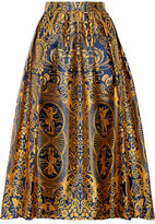 Mary Katrantzou Bowles Pleated Jacquard Midi Skirt - Saffron