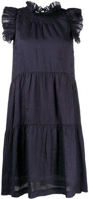 Sea pleated trim dress