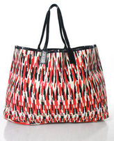 Beirn Beige Multi-Color Abstract Canvas Leather Trim Tote Handbag New