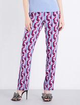 Gucci Geometric-pattern high-rise silk trousers