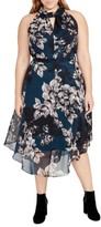 Rachel Roy Plus Size Women's Floral Chiffon Midi Dress