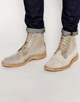 Ben Sherman Lace Up Boots In Suede - Beige