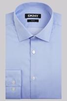 DKNY Slim Fit Sky Blue Single Cuff Twill Spot Shirt