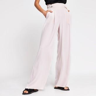 River Island Womens Pink side buckle wide leg trousers