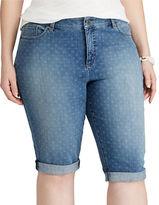 Chaps Plus Geo-Print Denim Shorts