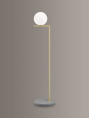 Flos IC F1 Outdoor Floor Lamp, Brass/Grey Lava Stone