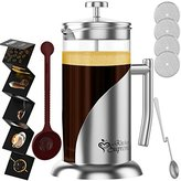 French Press Coffee & TeaMaker Complete Bundle | 34 Oz | Best Coffee Press Pot with Stainless Steel & Double German Glass