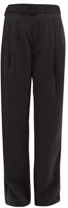 Lemaire High-rise Belted Silk-blend Trousers - Black