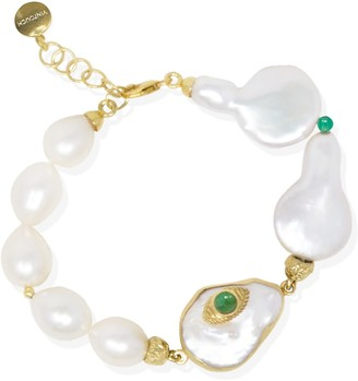 Vintouch Italy The Eye Gold-Plated Emerald & Pearl Bracelets