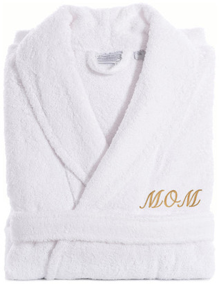 Linum Home White Terry Bathrobe For Mom With Color Gold Embroidery, Large/XLarge