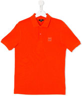 Boss Kids - logo plaque polo shirt - kids - Cotton - 16 yrs