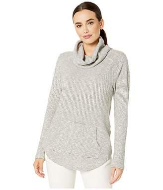 Mod-o-doc Mini Zigzag Stripe Sweater Cowl Neck Tunic with Kangaroo Pocket