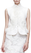 Oscar de la Renta Sleeveless Lace Peplum Jacket, White