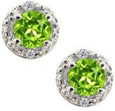Gem Stone King 0.42 Ct Round Green Peridot and White Diamond 14k White Gold Earrings