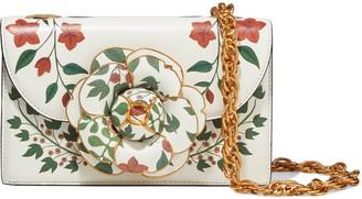 Oscar de la Renta Tro Floral-print Textured-leather Shoulder Bag
