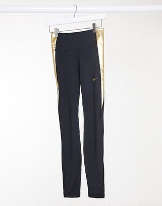 Nike Training one tight leggings in black and gold