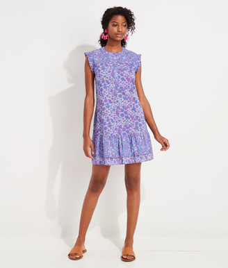 Vineyard Vines Floral Print Button-Front Ruffle Dress