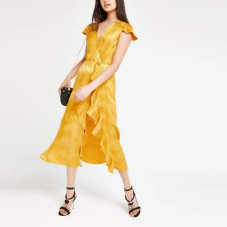 River Island Womens Yellow snake frill midi dress