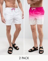 Asos Swim Shorts 2 Pack In Pink Dip Dye & White In Mid Length